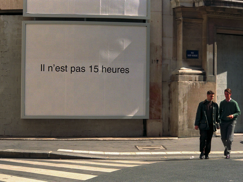Claude Closky, 'Il n'est pas 15 heures [It's not 3 PM]', 1995-1996, black and white public notice, 3 x 4 meters.